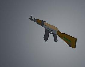 Low poly Gun AK 47 v2 3D model