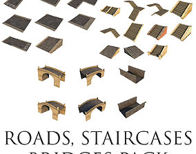 3D asset Mid Poly Roads Staircases and Bridges Pack
