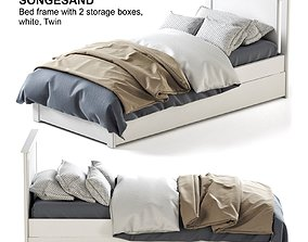 ikea SONGESAND white bed 3D