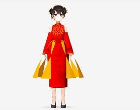 rigged NAMI KIMONO MODEL 3D ASIAN RIGGED T POSE SHAPE KEYS
