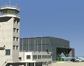 3D model JASDF Large Aircraft Hanger and Control tower