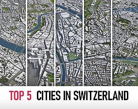 Top 5 Cities in Switzerland 3D model
