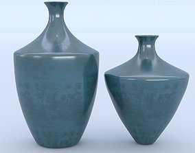 3D Ceramic Blue Vases