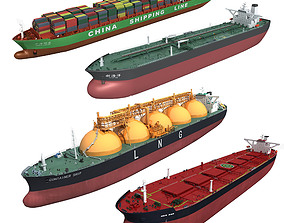 Cargo ships collection 3 3D model