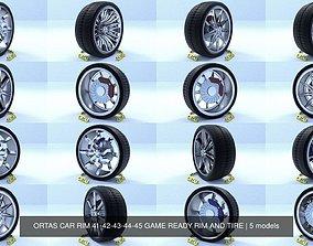 ORTAS CAR RIM 41-42-43-44-45 GAME READY RIM AND TIRE 3D