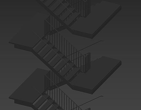 3D model Steel Staircase steel