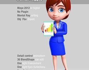 3D Cartoon Business Woman Rigged