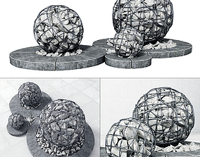 3D Street gabion sphere decor