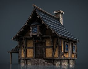 Medieval Town House 3D model game-ready