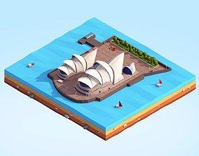 3D model Low Poly Sydney Opera House Landmark