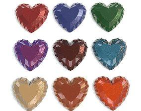 Set Heart shaped gemstone v5 3D