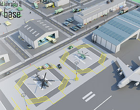 Tile pack city 3d low poly 9 military base VR / AR ready