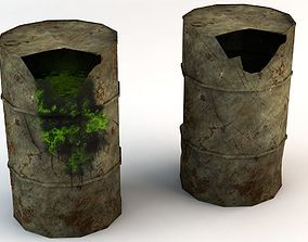 3D model Broken Low Poly Barrels