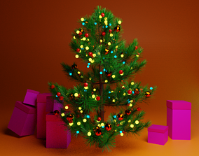 Christmas tree 3D asset low-poly