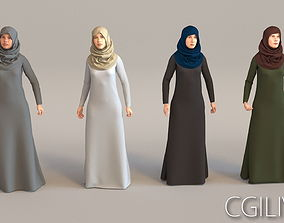 4x Arabic real cloth simulation loop animated woman 3D