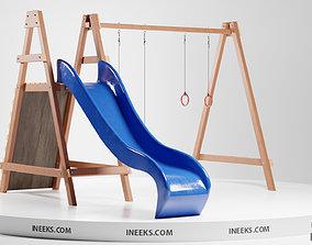 Wooden outdoor swing set with slide 3D Model exterior