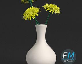 3D Dandelion flowers in a vase