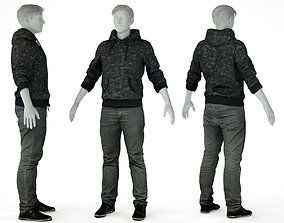 3D asset Male Casual Outfit 28 Hoodie Pants Shoes