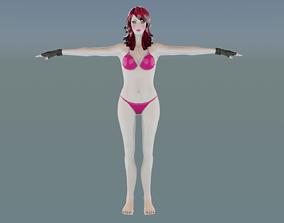 Cute Bikini Pink Boobs Girl rigged ready For 3D asset 2