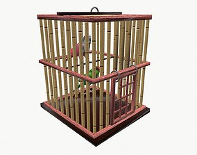 Parakeets in cage 3D model animated