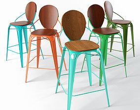 3D Louix bar chair with backrest