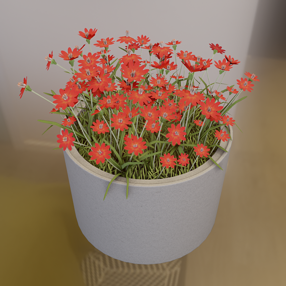 Concrete 1000mm with Red Flowers Version 1 (Blender-2.91 Eevee)