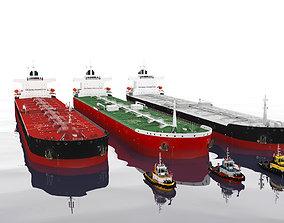 3D asset Panamax oil tanker 3 v and Tugboat 3 v
