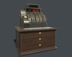 Old cash register PBR 3D model