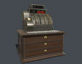 Old cash register PBR 3D model