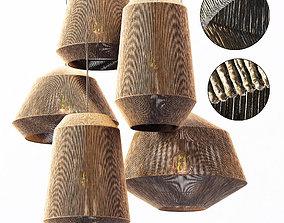 3D Lamp wood rotang wicker barrel n2