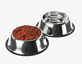 3D Stainless Steel Dog Bowl with food