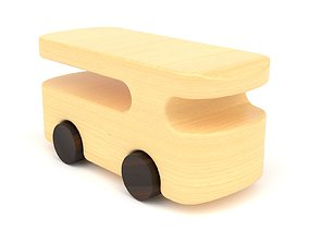 3D Wooden toy bus 02