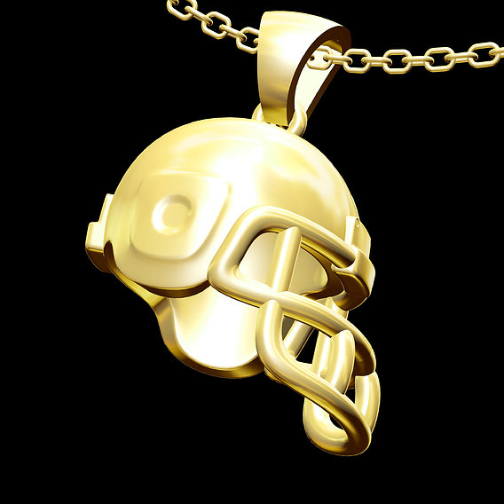 Football Helmet Pendant jewelry Gold 3D print model