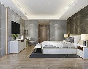 wood luxury vintage modern bedroom suite in hotel 3D