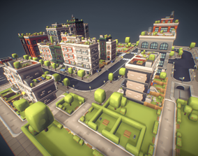 3D model City Set - Low Poly Proto Series