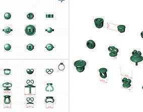 3D print model set of lock for earrings