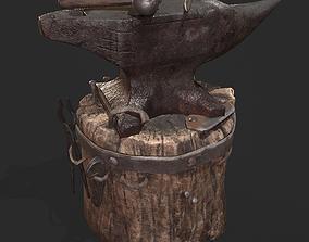 Medieval Blacksmith Anvil Set 3D asset low-poly