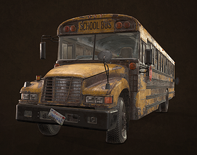 Abandoned School Bus 3D asset
