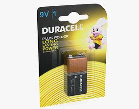9V Duracell Battery Alkaline Pack 3D model polarity