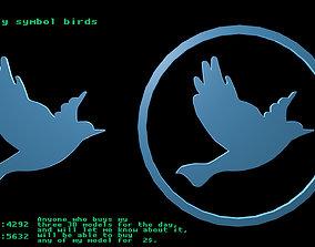Low poly symbol birds 1 3D asset