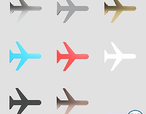 3D asset Airplane Mode Symbol v1 Pack 01