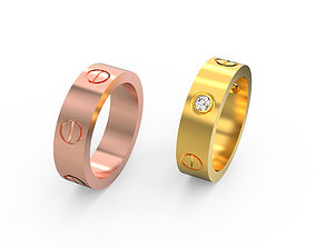 Cartier love ring with ring 3D printable model 2