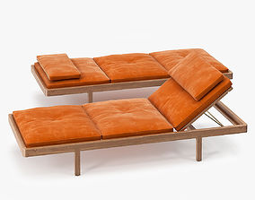 3D model BassamFellows Daybed French Calf Suede