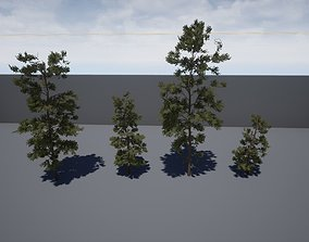 3D model Four pine trees
