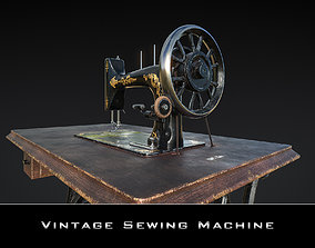 3D model VR / AR ready Vintage Sewing Machine