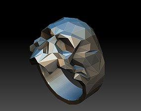sterling 3D printable model skull ring low poly