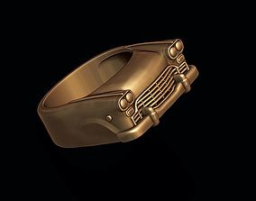 3D print model car ring silver