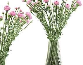 Swirling bouquet of small pink shrub roses in a vase 3D 1