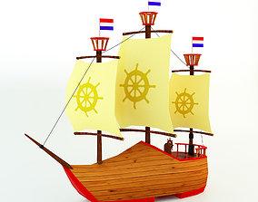 3D model Low Poly Netherlands Boat