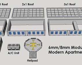 3D print model 6mm or 8mm Modular Apartment Block